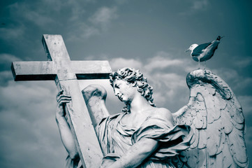 Statue of Angel with the Cross, Rome, Italy