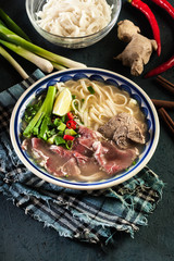 Pho Bo - raw beef noodle soup
