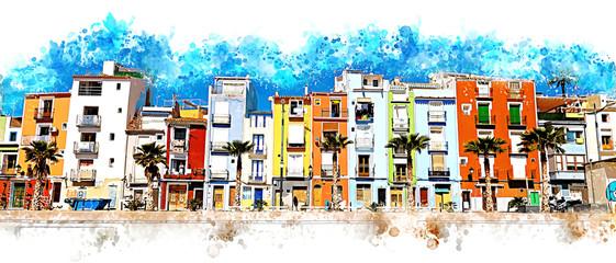 Colorful coastal village painting