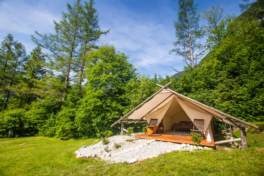 Glamping tent exterior in Adrenaline Check eco camp in Slovenia.