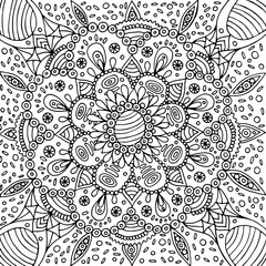 Floral graphic mandala - coloring page for adults. Hand drawn li