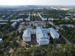 Aerial view of on reconstruction of the fountain and central square of the city and Palace of Culture of Kramatorsk - the administrative center not occupied part of Donetsk region.