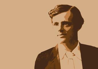 Portrait de Jack London, célèbre écrivain et romancier américain du début du 20ème siècle