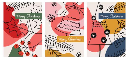set of three christmas greeting cards Wall mural
