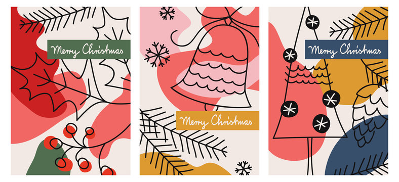 set of three christmas greeting cards
