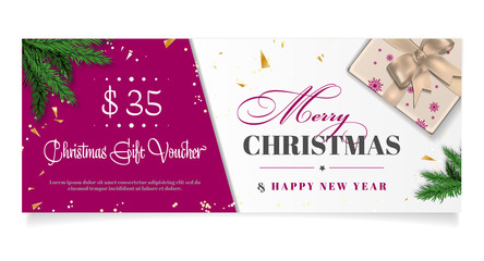 Elegant christmas gift voucher with place for text