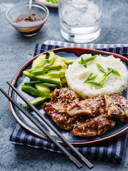 Hoisin Chicken. Traditional Asian cuisine. Chicken with sauce, rice and pickled cucumbers.