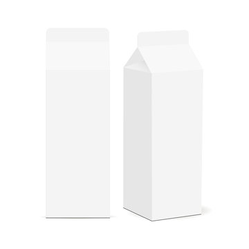 Milk carton box mockup isolated on white background. Packaging mock up for milk products with front and side views. Vector illustration