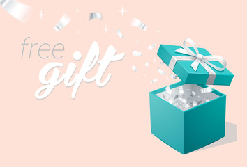Promo banner with Open Gift Box and silver Confetti. Turquoise jewelry box. Template for cosmetics jewelry shops. Christmas Background.
