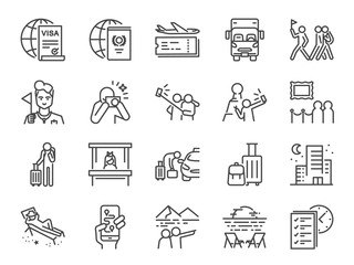 Tourism line icon set. Included icons as tourist, guide, traveler, vacation and more.