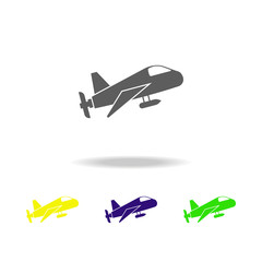airplane with camera color icon. Elements of a controlled aircraft color icon. Signs, outline symbols collection icon for websites, web design, mobile app on white background