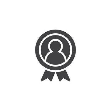 Winner medal vector icon. filled flat sign for mobile concept and web design. Medal with ribbon simple solid icon. Symbol, logo illustration. Pixel perfect vector graphics