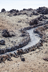 Secluded Stony Trail / Winding hiking trail through stony landscape at Teide National Park, Tenerife