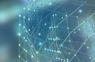 Malla o red con líneas y detalle de formas geométricas. Fondo abstracto de tecnología y...