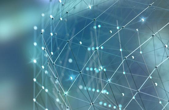 Malla o red con líneas y detalle de formas geométricas. Fondo abstracto de tecnología y ciencia.Concepto de internet y trabajo en linea