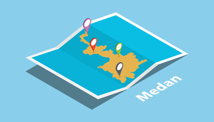 medan indonesia explore maps with isometric style and pin location tag on top
