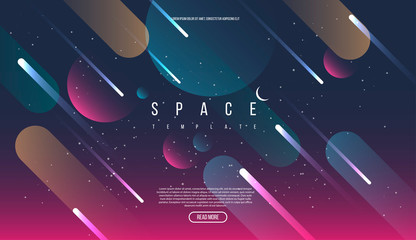 Vector Universe background for presentation design. Brochure template with space elements.