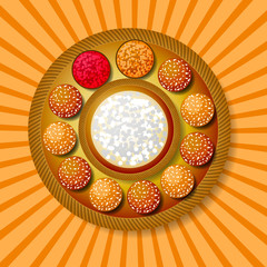 Makar Sankranti. Winter Solstice Harvest Festival. Traditional dish - sweet sesame, background with rays from the center.