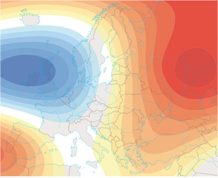 imaginary meteorological weather image of the europe weather map