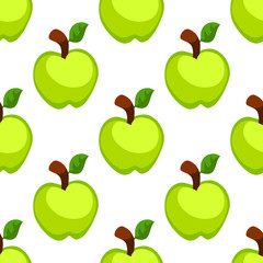 Green cartoon apple seamless pattern