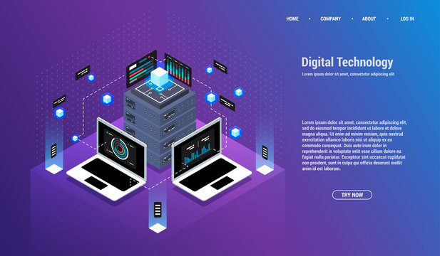 Analysis and Investment. Data visualization concept. 3d isometric vector illustration. Big data flow processing concept, cloud database.