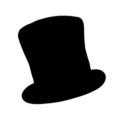 vector, on a white background, male top hat black silhouette
