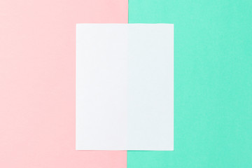 White paper and space for text on pastel color background