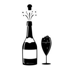 Champagne, or wine icon. Black silhouette of a champagne bottle and a glass. Iconography. Vector