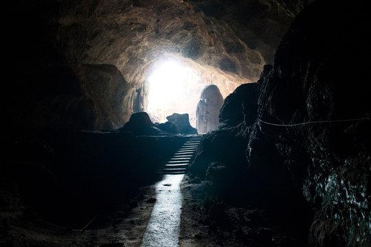 Inside the dark Sadan cave near Hpa-An in Myanmar