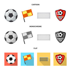 Isolated object of soccer and gear sign. Set of soccer and tournament stock vector illustration.