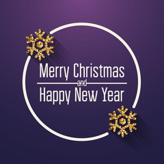 Merry Christmas and Happy New Year Greeting Card. Quote. Vector illustration.