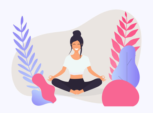 Woman in poses of yoga. Healthy lifestyle. Vector illustration.