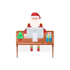 Santa Claus is working at a table with a computer, a Christmas tree and gifts. Vector illustration in trendy flat style isolated on white background