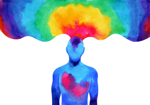 human mind brain spirit energy connect to the universe power abstract art watercolor painting illustration design hand drawn