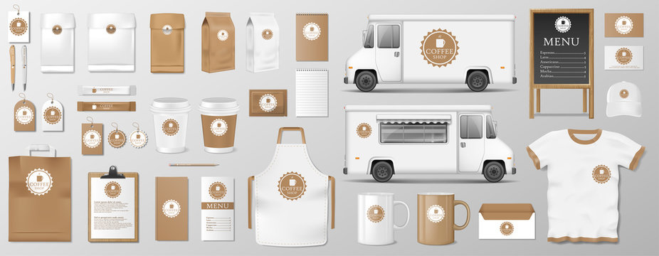 Mockup set for coffee shop, cafe or restaurant. Coffee food package for corporate identity design. Realistic set of cardboard, Food delivery truck, cup, pack, shirt, menu