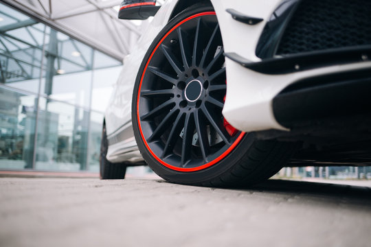 Front wheel of modern car