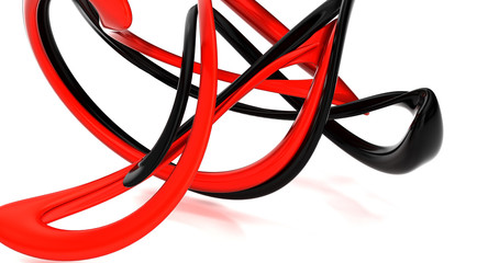 abstract background with red and black figure. 3d illustration