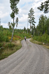 Recreation walk on a gravel road