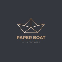 Origami paper boat. Modern logo of line paper boat vector illustration