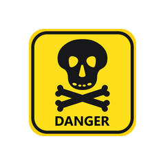 skull with bones black icon danger hight voltage on yellow background square text