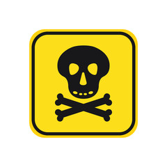 skull with bones black icon danger hight voltage on yellow background square