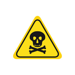 skull with bones black icon danger hight voltage on yellow background triangle