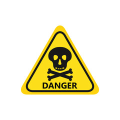 skull with bones black icon danger hight voltage on yellow background triangle text