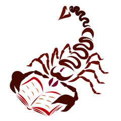 Abstract scorpion with an arrow on the tail, reading a book
