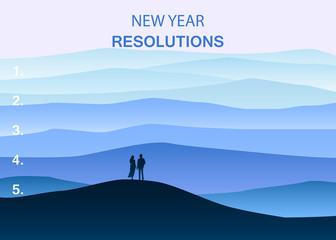 New years resolution in the new year, men and women are standing on the hill looking into new perspectives next year, minimalist landscape, vector, illustration, banner, poster
