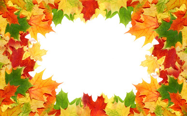 Frame with red and yellow maple leaves for your text.