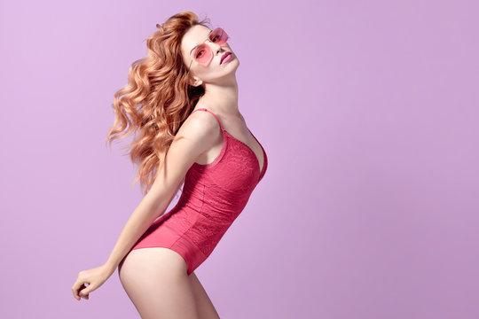 Fashion. Playful Redhead Girl, skin care concept
