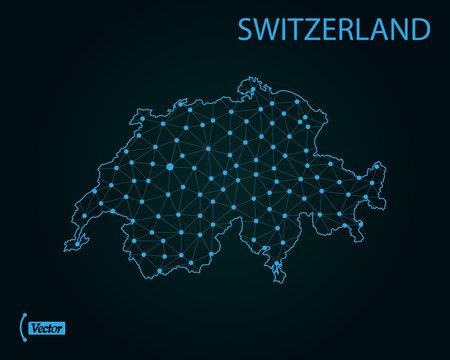 Map of Switzerland. Vector illustration. World map