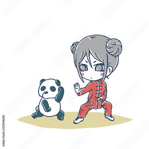 中国娘と太極拳とゆるいパンダfotoliacom の ストック写真と