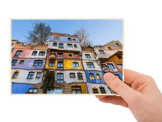 Hand and Hundertwasser house in Vienna Austria (my photo)